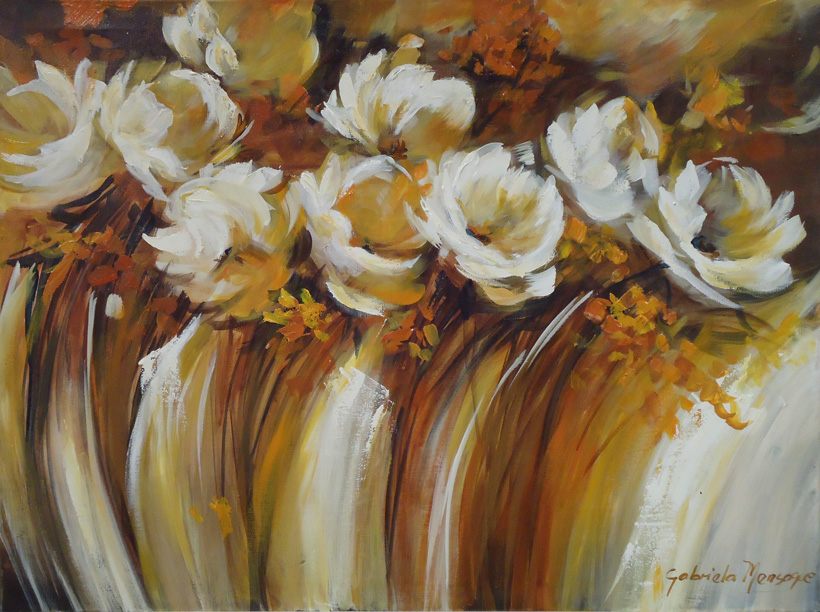 Pintura en acr lico cuadro sinfon a de flores blancas - Como pintar un cuadro moderno ...