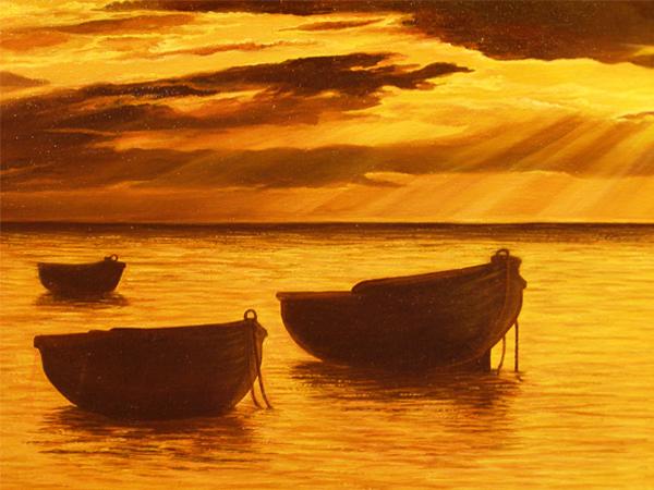 Atardecer en el mar - Cuadros de atardeceres ...