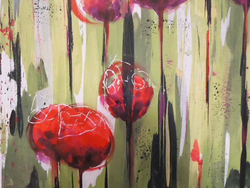 Pintura en acr lico cuadro flores en el jard n - Pintura acrilica manualidades ...